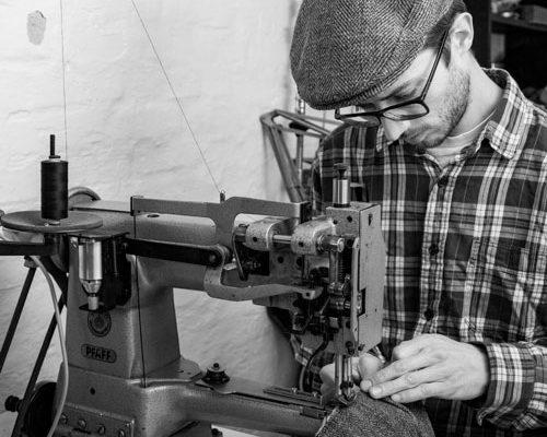Silas Gärtner making headwear on old pfaff sewing machine