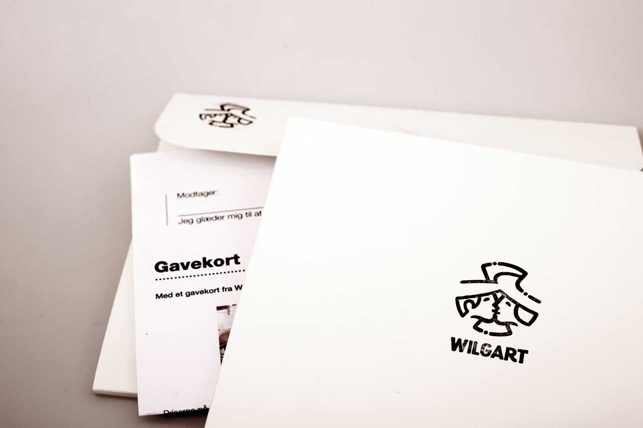 Giftcard in an envelope. Stamp with logo and name: Wilgart