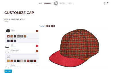 Picture of page where Wilgart offers online customization of headwear
